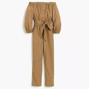 Petite off-the-shoulder khaki jumpsuit